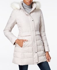 Bar Iii Faux Fur Trim Hooded Quilted Puffer Coat Only At Macy's Champagne