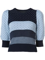 Marc Jacobs Striped Polka Dot Knitted Top Women Cotton Xs Blue