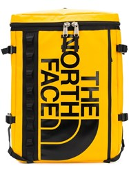 The North Face Printed Logo Backpack Yellow And Orange