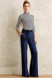 Anthropologie Ribboned Wool Wide Legs Navy