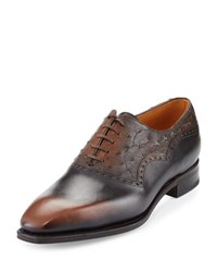 Corthay Wilfrid Ostrich And Leather Oxford Shoe Brown