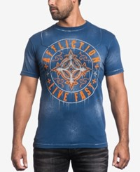 Affliction Men's Graphic Print T Shirt Navy Bleach Brush