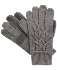 Isotoner Signature Touchscreen Enabled Solid Triple Cable Knit Palm Gloves Oxford Heather