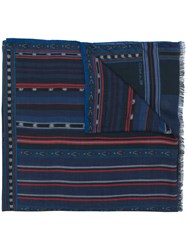 Etro Mix Print Scarf Blue