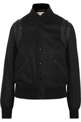 Saint Laurent Teddy Leather Trimmed Wool Blend Bomber Jacket Black