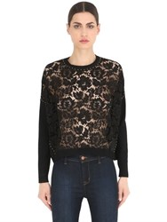 Valentino Studded Lace And Knit Sweater