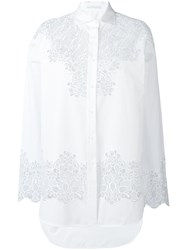 Ermanno Scervino Floral Cut Out Shirt Women Cotton Polyamide Polyester Viscose 48 White