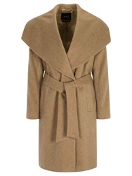 Oui Wool Mix Wrap Over Coat Camel