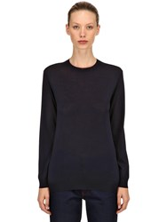 Prada Brushed Virgin Wool Knit Sweater Dark Blue