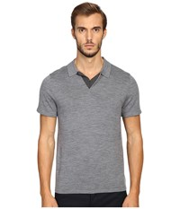 Vince Wool Silk Jersey Short Sleeve Polo With Tipping Heather Cinder Men's Short Sleeve Pullover Gray