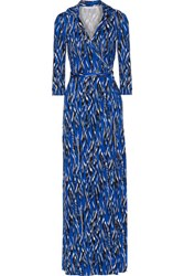 Diane Von Furstenberg Abigail Printed Silk Wrap Maxi Dress Blue