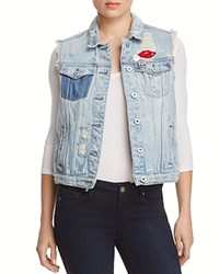 Scotch And Soda Trucker Distressed Denim Vest Indigo