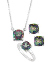 Macy's Mystic Topaz Pendant Necklace Stud Earrings And Ring Box Set 8 2 3 Ct. T.W. In Sterling Silver