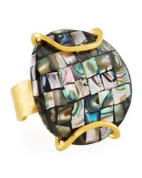 Devon Leigh 18K Plated Pearlescent Ring Gold