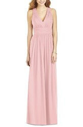 After Six Women's Crisscross Back Ruched Chiffon V Neck Gown Rose