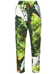 Blugirl Printed Tapered Trousers Green