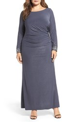 Alex Evenings Plus Size Women's Embellished Cuff Shimmer Gown