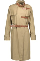 Isabel Marant Hanya Belted Cotton And Linen Blend Coat Army Green