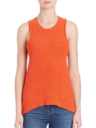 J Brand Sleeveless Chunky Knit Cutout Sweater Cherry Tomato