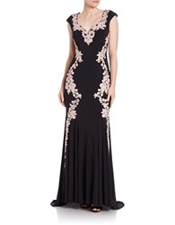 Betsy And Adam Floral Lace Trimmed Gown Black Rose