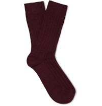 Anderson And Sheppard Ribbed Knit Wool Blend Socks Burgundy