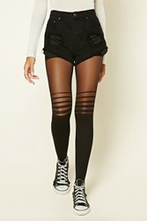 Forever 21 Striped Panel Tights