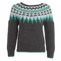 Lowie Virgin Wool Fair Isle Jumper Grey