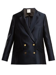 Maison Rabih Kayrouz Double Breasted Satin Jacket Navy