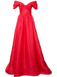 Marchesa Off Shoulder Dress Women Silk 2 Red