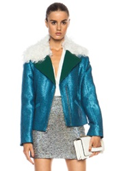 Rodarte Exclusive Glitter Cropped Viscose Blend Jacket In Blue Metallics