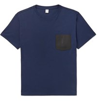 Berluti Leather Trimmed Cotton Jersey T Shirt Storm Blue