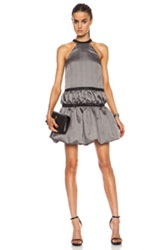 Christopher Kane Crinkle And Nylon Ruched Halter Dress In Gray