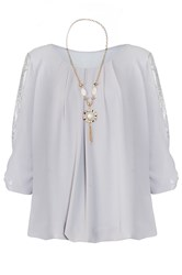 Quiz Grey Chiffon Lace Bow Necklace Top