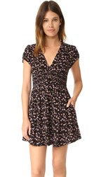 Free People Pretty Baby Printed Mini Dress Black Combo