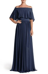 Dress The Population Women's Violet Off Shoulder Chiffon Gown Midnight Blue