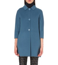 Max Mara Button Up Wool Coat China Blue