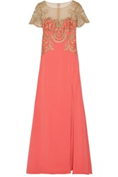 Marchesa Notte Embroidered Tulle And Stretch Crepe Gown Coral