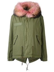 Mr And Mrs Italy Army Mini Parka Women Cotton Leather Polyester Racoon Fur Xs Green