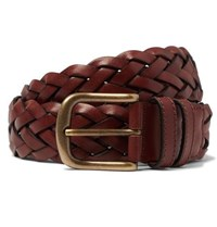 Anderson And Sheppard 3.5Cm Brown Woven Leather Belt