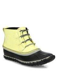 Sorel Out And About Patent Leather And Rubber Duck Booties Zest Nori