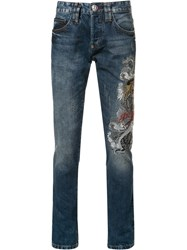 Philipp Plein Embroidered Slim Fit Jeans Blue