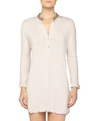 Fleurt Fleur't At Night Silk Collar Sleepshirt Oyster Women's