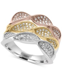 Effy Trio By Diamond Pave Twist Ring 5 8 Ct. T.W. In 14K White Yellow And Rose Gold Tri Tone