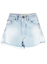 Off White Bleached Denim Shorts Blue