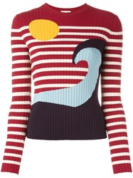 Red Valentino Striped Jumper Red