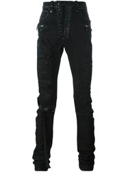 Unravel Distressed Skinny Trousers Black