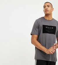 Nicce London Tall T Shirt In Grey With Velour Box Logo Exclusive To Asos