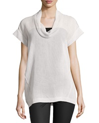Lafayette 148 New York Short Sleeve Linen Cowl Neck Top Oyster