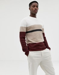 Selected Homme Knitted Jumper With Block Stripes Brick Red