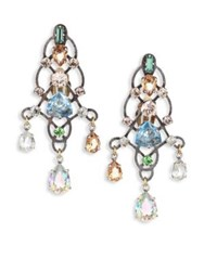 Lanvin Crystal Chandelier Earrings Silver Multi